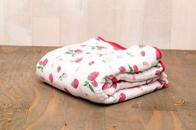 Little Unicorn | Cotton Muslin Quilt | Strawberry | 49.99 | ECOBUNS BABY + CO. | www.ecobunsstore.com