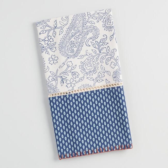 Blue And White Paisley Kitchen Towel With Lace V1 Linen Towels