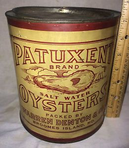 antique oyster tins   VINTAGE-PATUXENT-OYSTER-TIN-LITHO-1G-CAN-BROOMES-ISLAND-MD-ANTIQUE ...