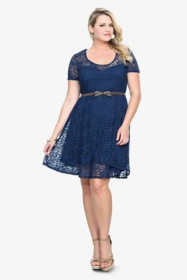 Navy Lace Belted Dress from TORRID! Plus size - gorgeous ...
