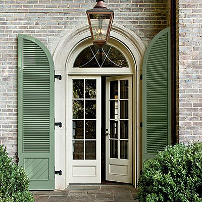 10 Ways To Add Cottage Charm House Exterior Green Shutters Exterior Doors