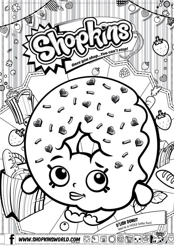 Shopkins Coloring Pages Season 1 D\'Lish Donut | Party - Shopkins ...