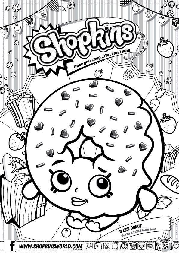 Shopkins Coloring Pages Season 1 D Lish Donut Farglaggningssidor