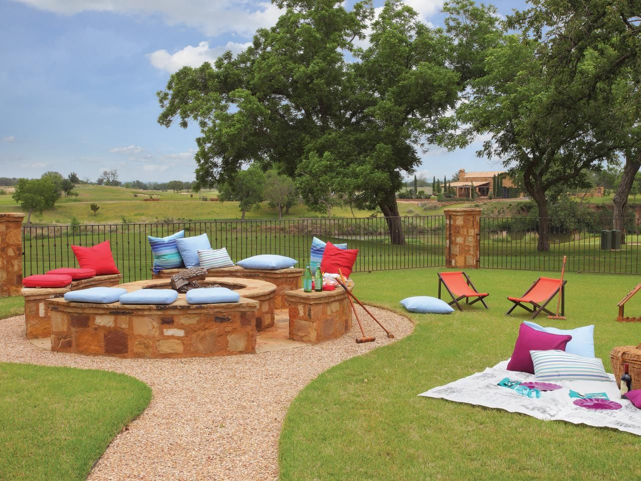 family-friendly outdoor spaces | picnic area, bonfires and picnics - Kid Friendly Patio Ideas