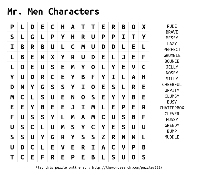 Mr Men Characters Word Find Word Search Maker Word Puzzles