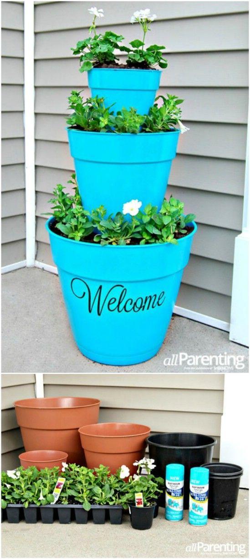 "Photo of DIY – Stacked Pot Planter ""Welcome – make a good impression. #DIYHomeDecorOutdoo…"