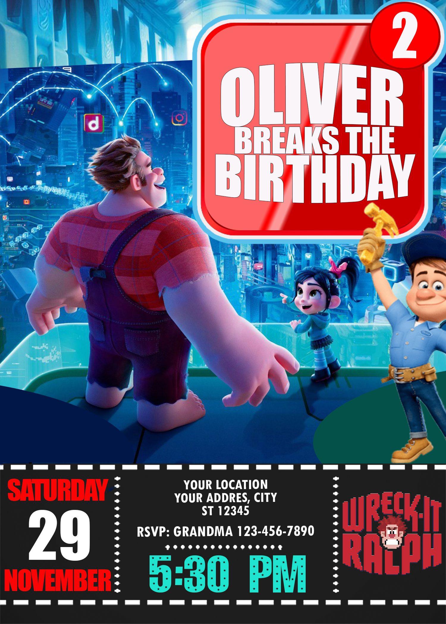Ralph Breaks The Internet Birthday Party Invitation Birthday Party Invitations Birthday Party Invitations Printable Birthday Invitations
