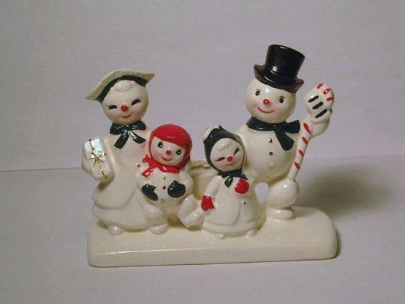 RARE Vintage Christmas Mr Mrs Snowman Family Porcelain Figurine Candle Holder Candy Cane Presents Holt