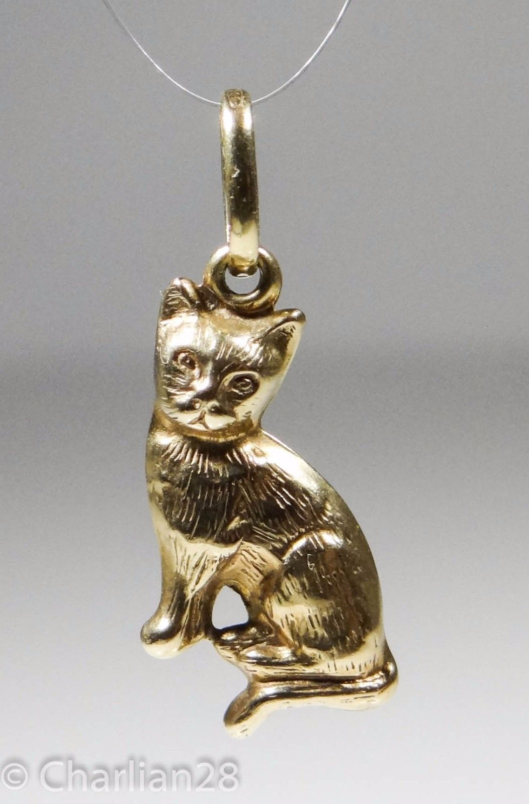 Precious Gem Jewellers 14k Yellow Gold Cat with Kitten Pendant