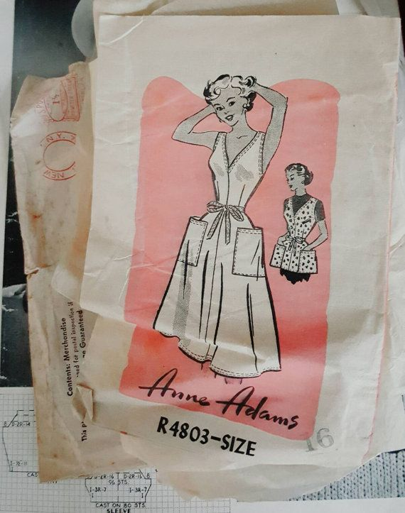 1953 Anne Adams Misses Wrap Dress or Apron Size 16 Sewing Pattern Missing Tie Belt and Back Facing ReTrO Housewife!
