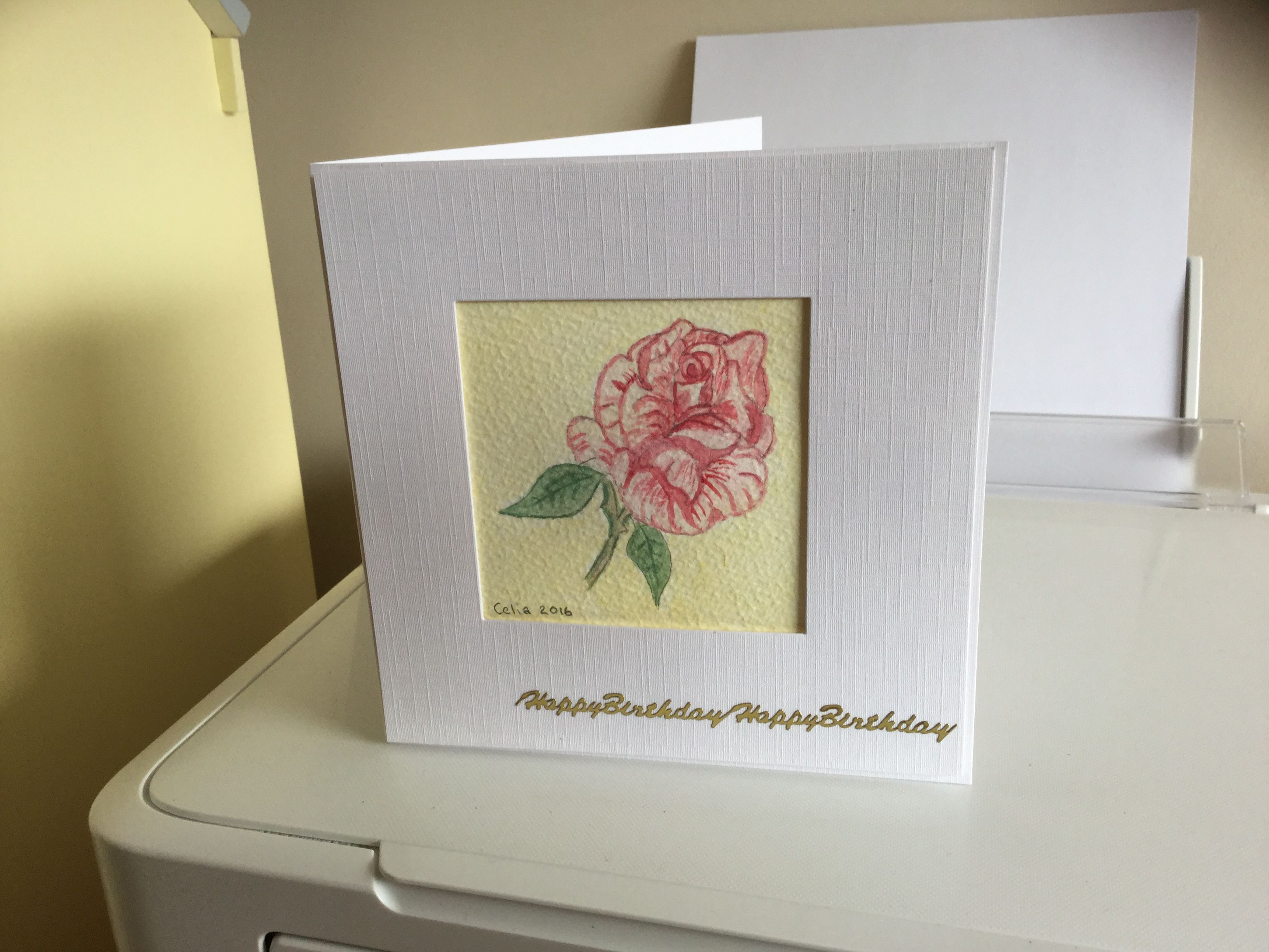 Hand drawn water colour rose a birthday card for my friend cards hand drawn water colour rose a birthday card for my friend bookmarktalkfo Image collections