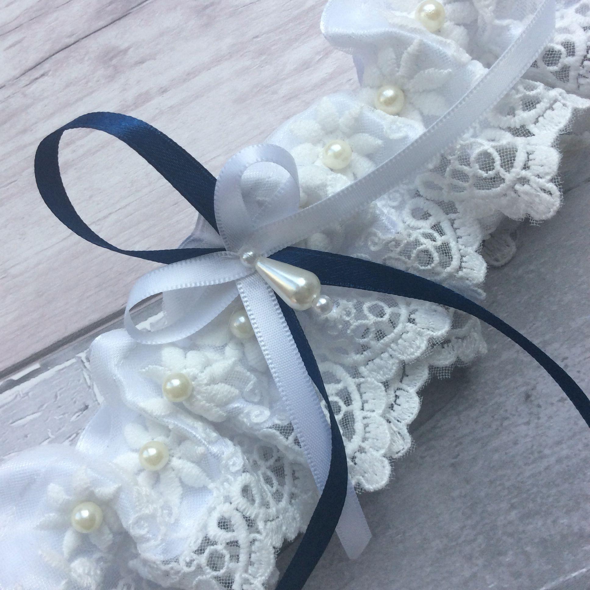 Blue Wedding Garter Uk: Wedding Garter Something Blue Satin Ribbon . Pearls . Hand