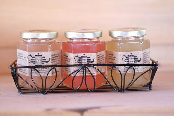 Gift set of 3 Organic flavored honey with wire by honeyteathyme