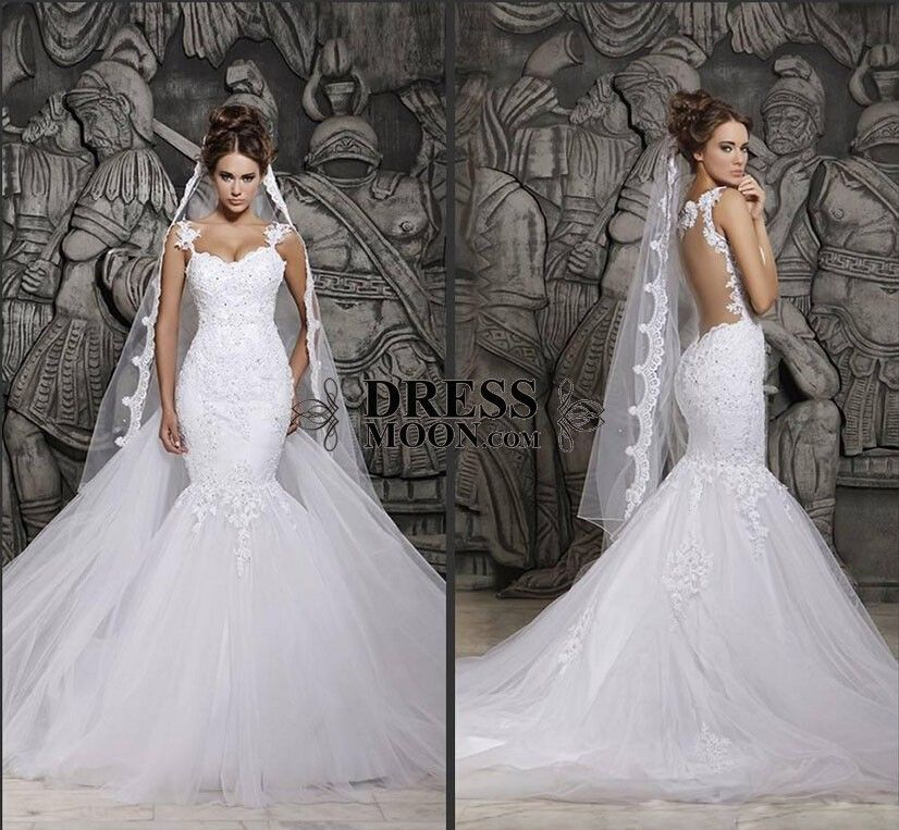 a50a0bc0690 Custom Made Beautiful Court Train Illusion Transparent Back Beaded Lace Mermaid  Wedding Dresses Bridal Gowns