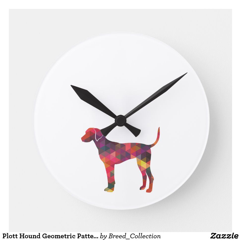 Plott Hound Geometric Pattern Silhouette Multi Round Clock | Zazzle.com