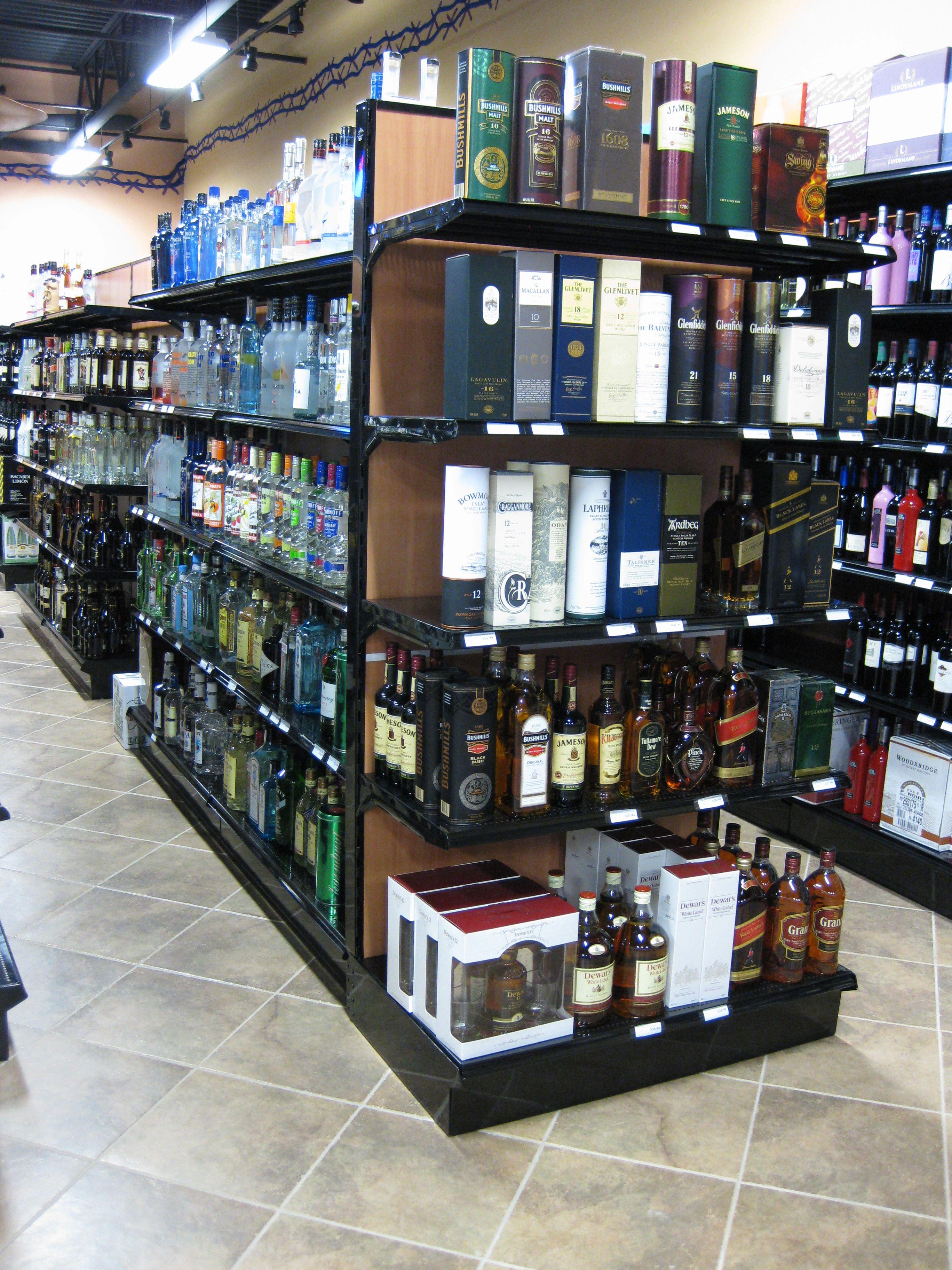Black Gondola Shelving with End Panels   Liquor Store Fixtures ...