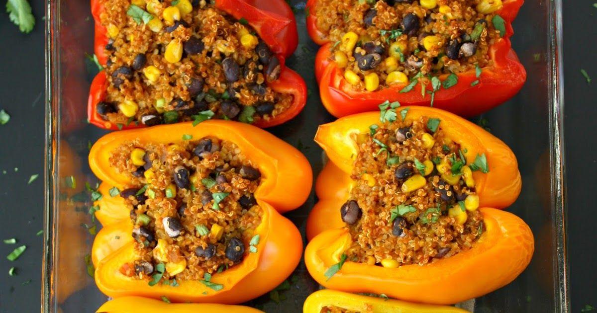 Mexican Quinoa Stuffed Peppers Vegan Gf The Garden Grazer Recipe Stuffed Peppers Vegan Eating Vegan Dishes