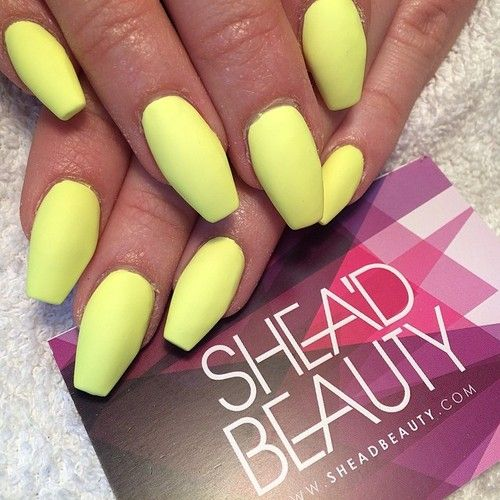 Neon Yellow Short Coffin Acrylic Or Biogel Nails With Gel