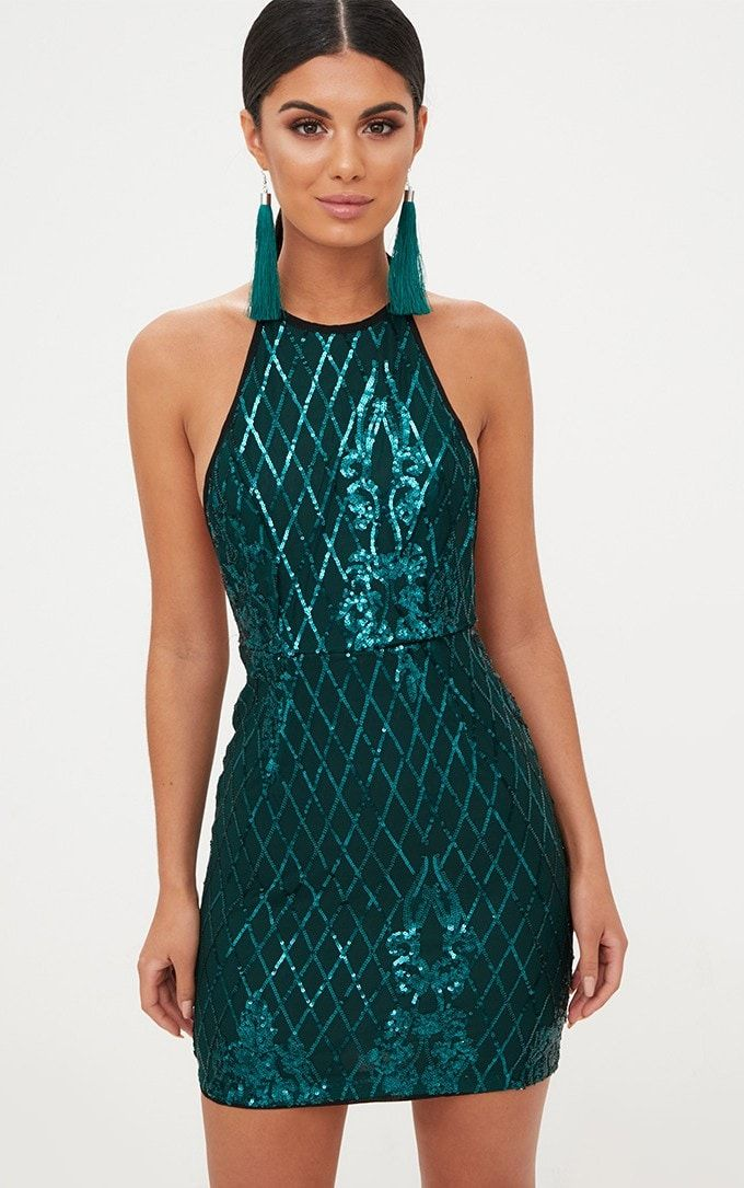 9af6f7ed8ba Emerald Green Sequin Front Bodycon Dress - Pretty Little Thing ...