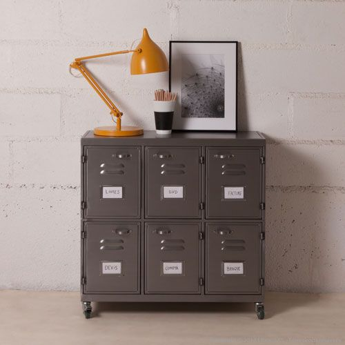 Buffet en m tal gris sur roulettes 6 casiers decoclico for Meuble style factory