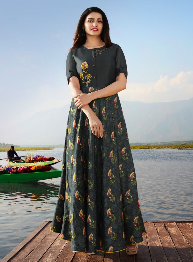 d96611b31efd Shop Prachi Desai Gray Georgette Long Tunic 143661 online at best price  from vast collection of designer kurti at Indianclothstore.com.