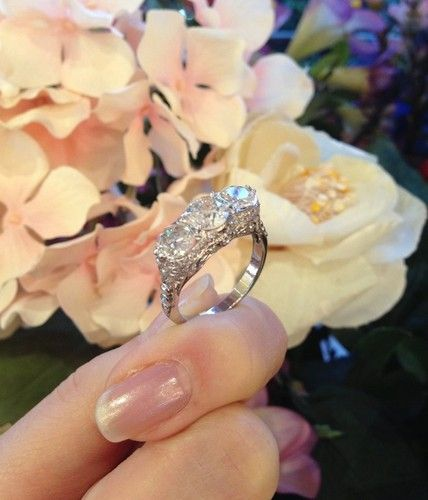 1930s vintage 3-stone ring...amazing trellis detail, old European cut diamonds