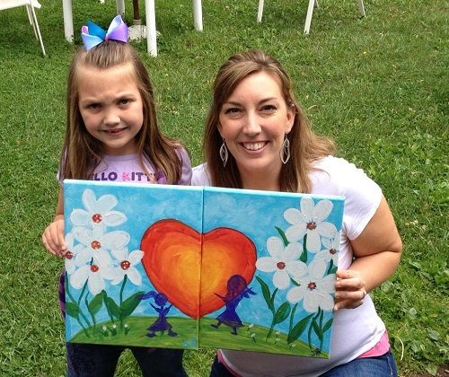 Mommy and me painting | Girl Scouts | Painting for kids, Kids canvas