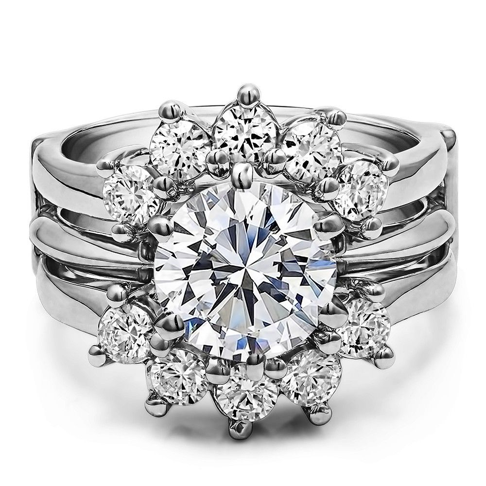 Solid 10K White Gold and Diamond Ring Wrap Guard for