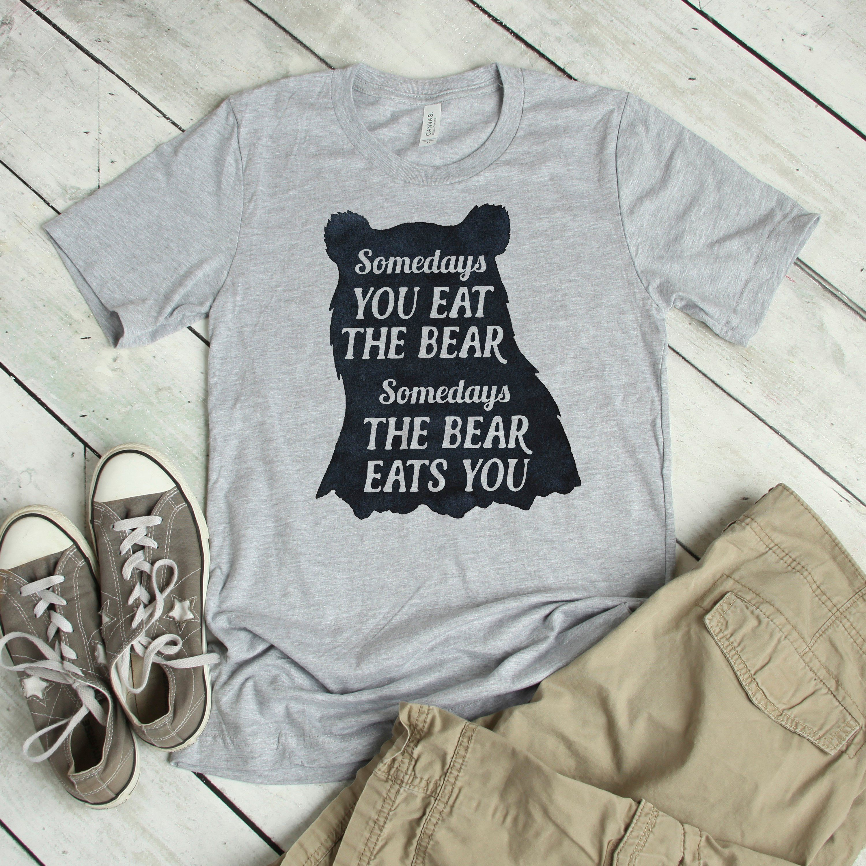 038f36e14 Funny Mens Graphic Tee - Vintage Looking Grizzly Bear Silhouette  Motivational Quote Shirt