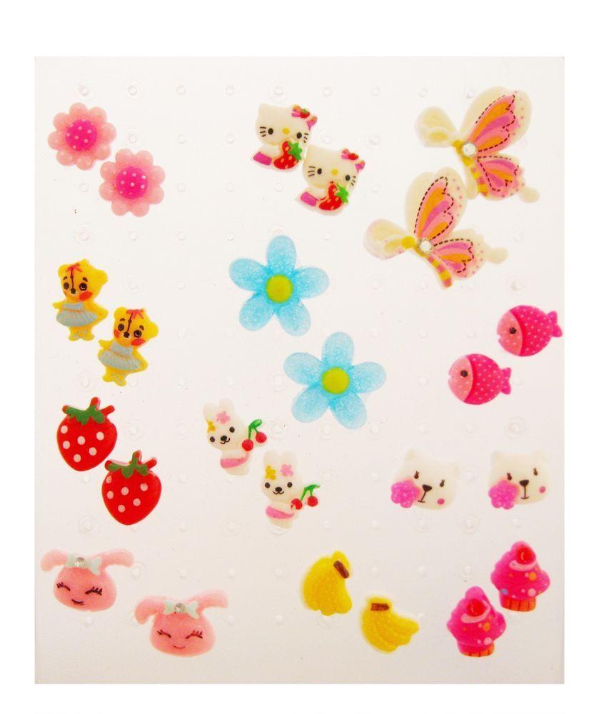 Cute 12 Pairs Lot of Cartoon & Flower Kids Plastic Stud Earrings ...