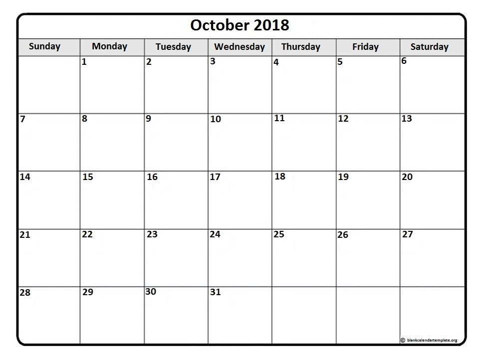 october2018 calendar printable october 2018 monthly calendar