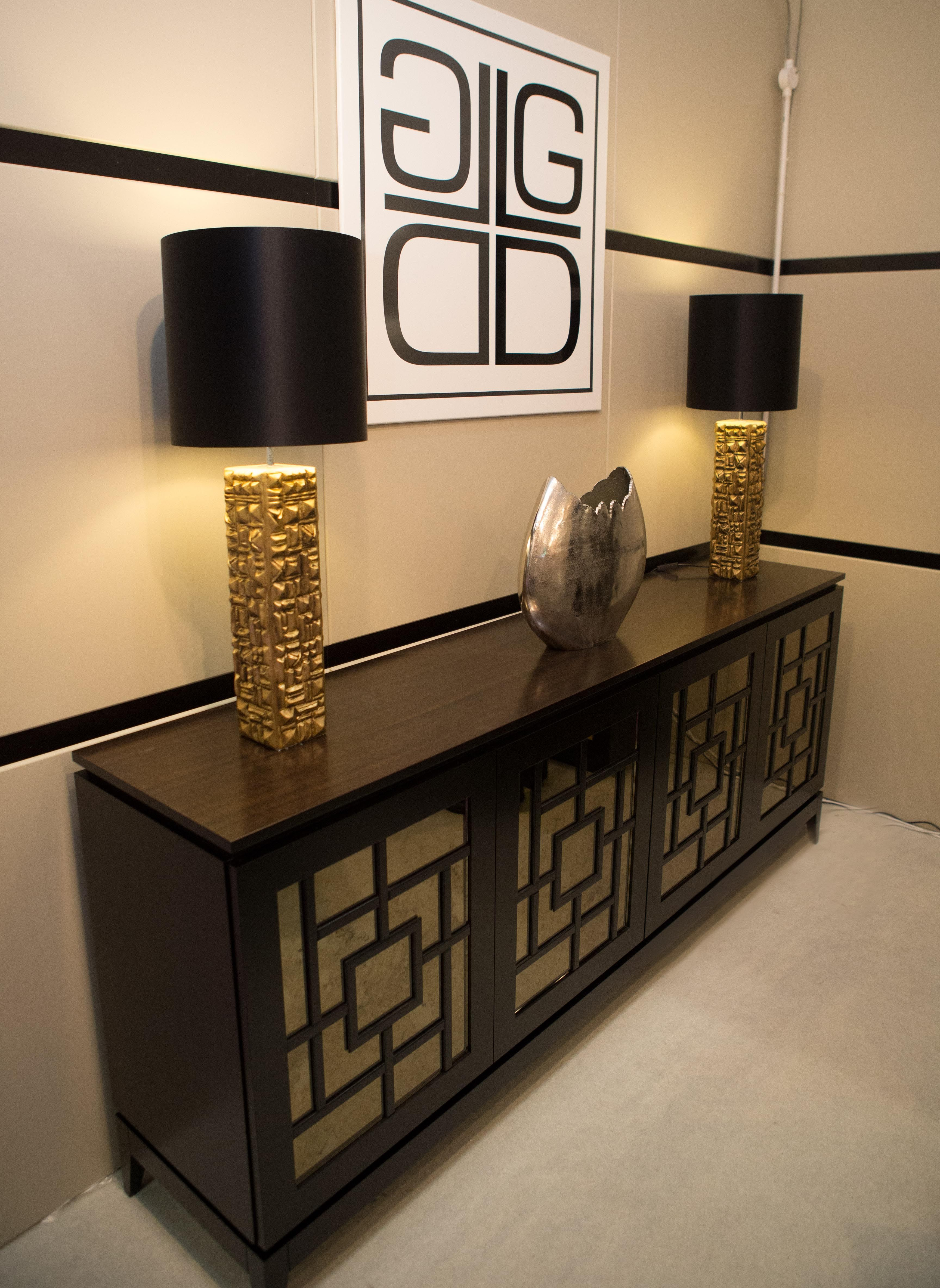 Sideboard Sideboard in Beech, stained to Black finish u2013 Bronze Antique Mirror Glass with