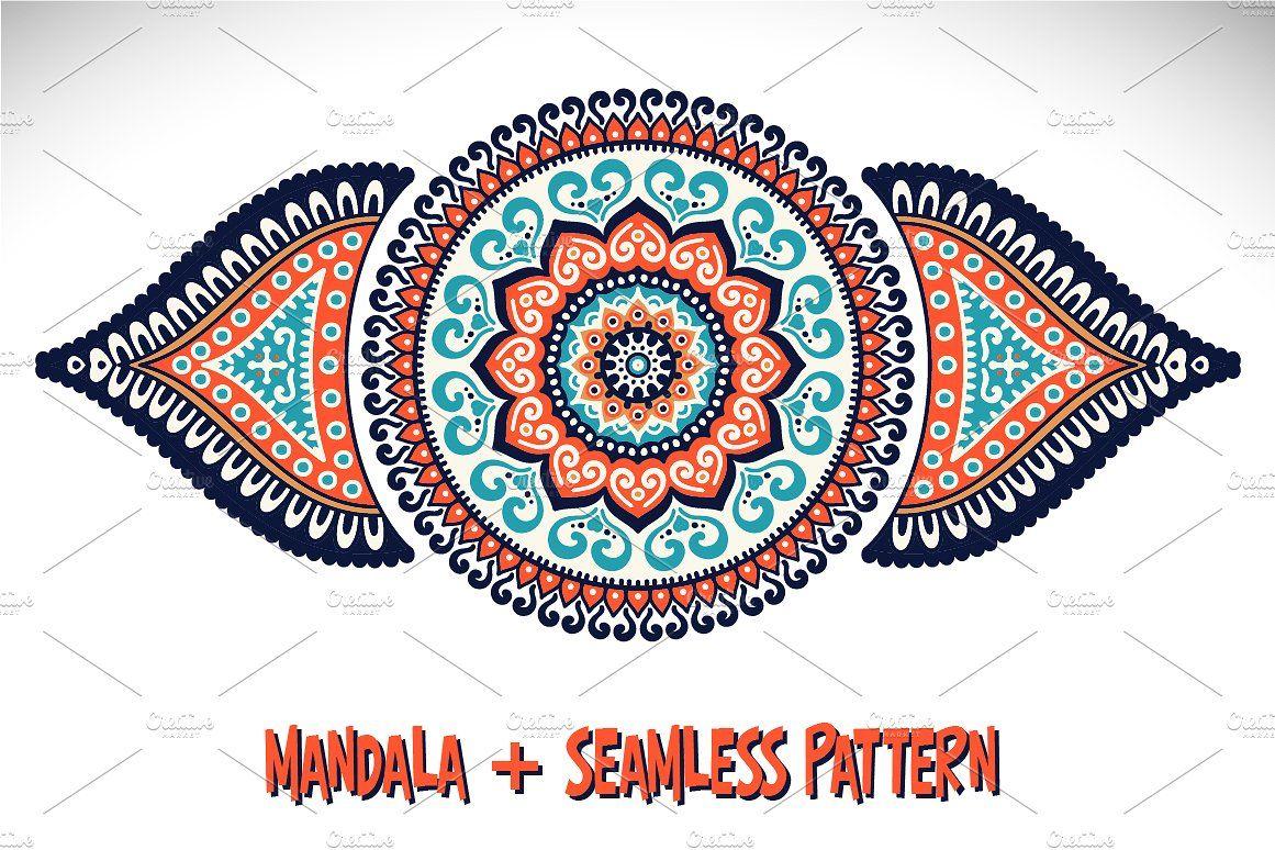 Mandala + Seamless pattern by ViSnezh on @creativemarket