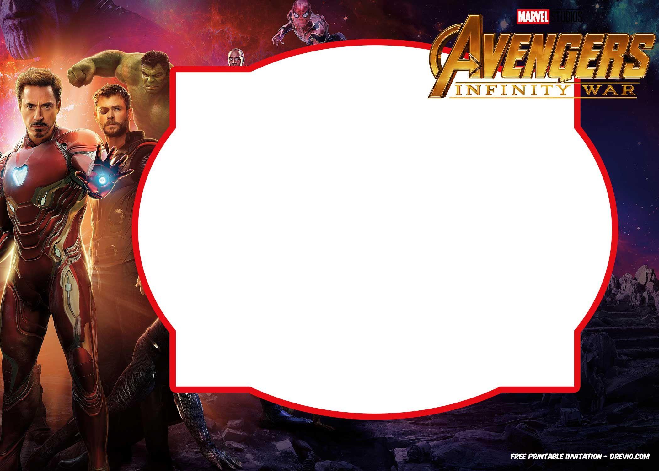 Nice FREE Avengers Infinity Wars Birthday Invitation Templates