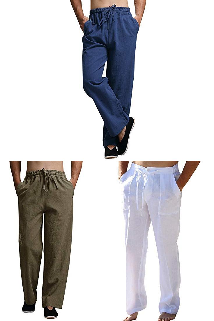 Enjoybuy Mens Summer Cotton Linen Long Casual Pants Elastic Waist Loose Fit Beach Pants Men Black Linen Pa Linen Dress Pants Black Linen Pants Mens Linen Pants [ 1102 x 735 Pixel ]