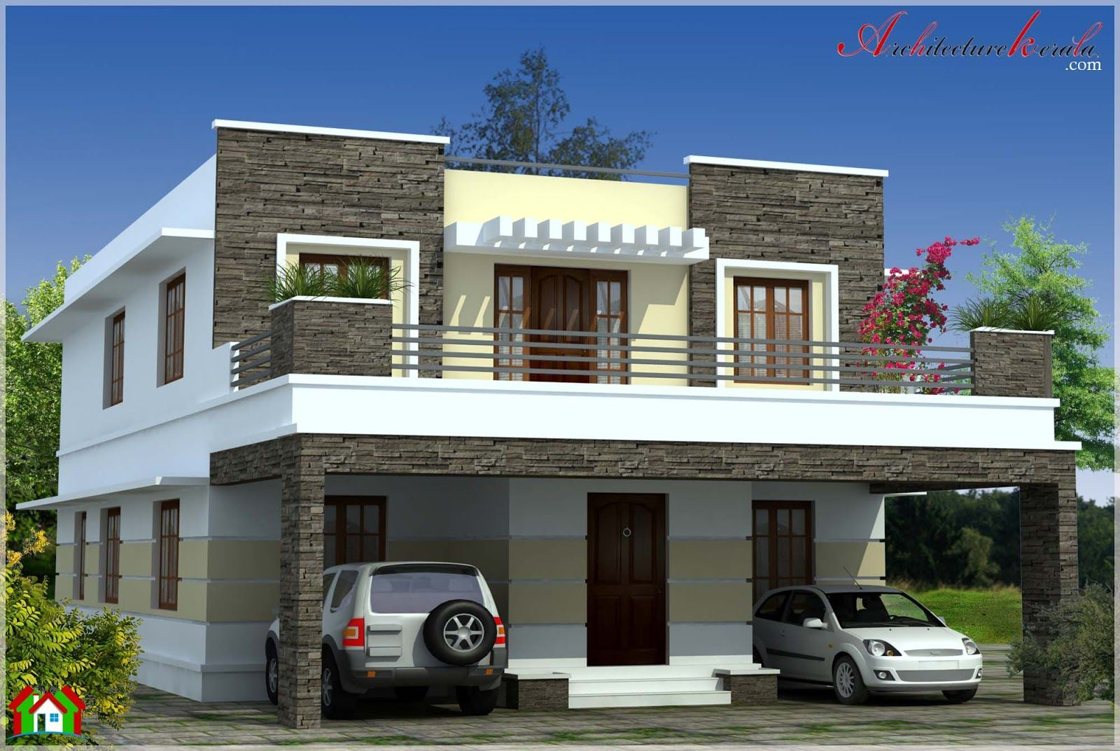 Simple contemporary style kerala house elevation for Modern painted houses pictures