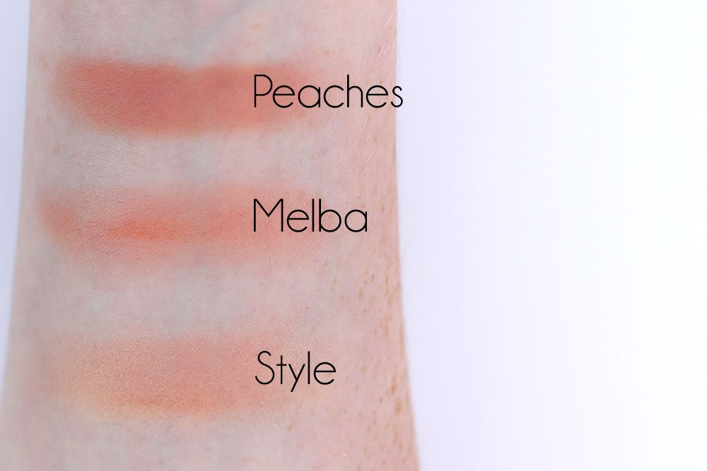 mac peaches, melba, and style swatches | Blush/Highlighter ...