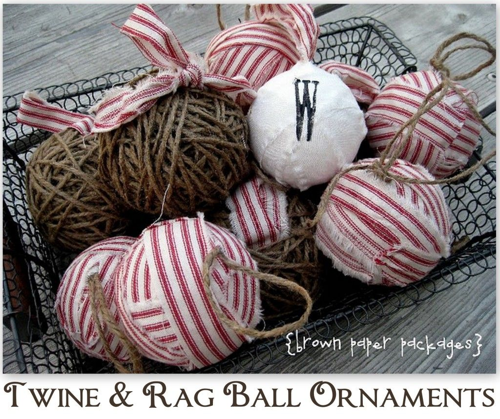 Twine & Fabric Rag Ball Ornaments featuring Kierste from Brown Paper Packages {Handmade Holidays Project No.2}