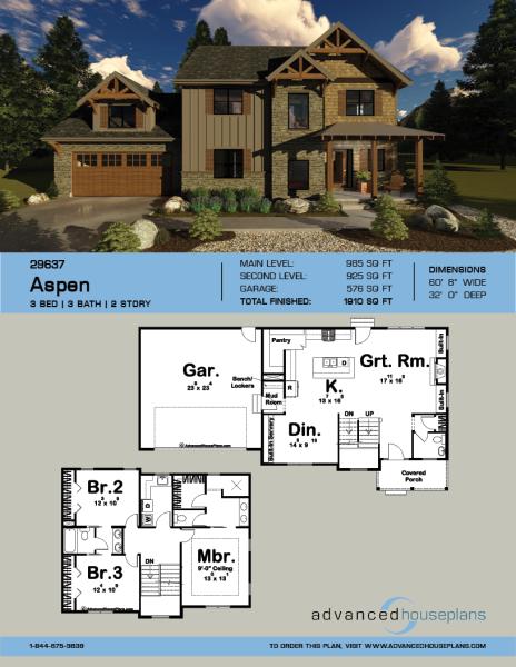 1 Story Mountain Rustic House Plan Aspen Rustic House Plans House Plans Rustic House