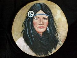 Native American Painted Drum -Indian Girl-