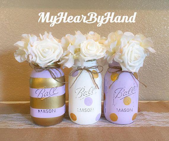 Mason Jar Decor Lavender And Gold Mason Jar Centerpieces Distressed Painted  Baby