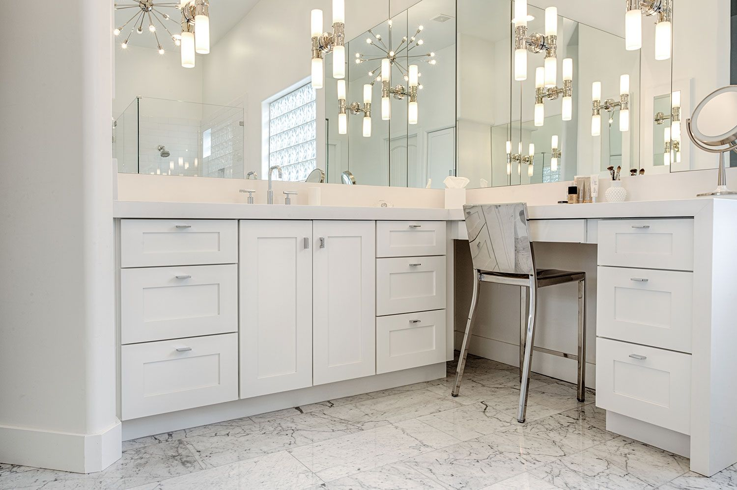 Newport in Frost paint shaker style cabinets add a sink and makeup ...