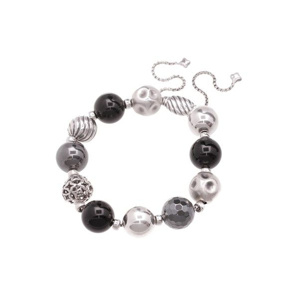 Pre-Owned David Yurman Sterling Silver Black Onyx & Hematite Elements... ($250) ❤ liked on Polyvore featuring jewelry, bracelets, pre owned jewelry, beading jewelry, beaded jewelry, black silver jewelry and preowned jewelry