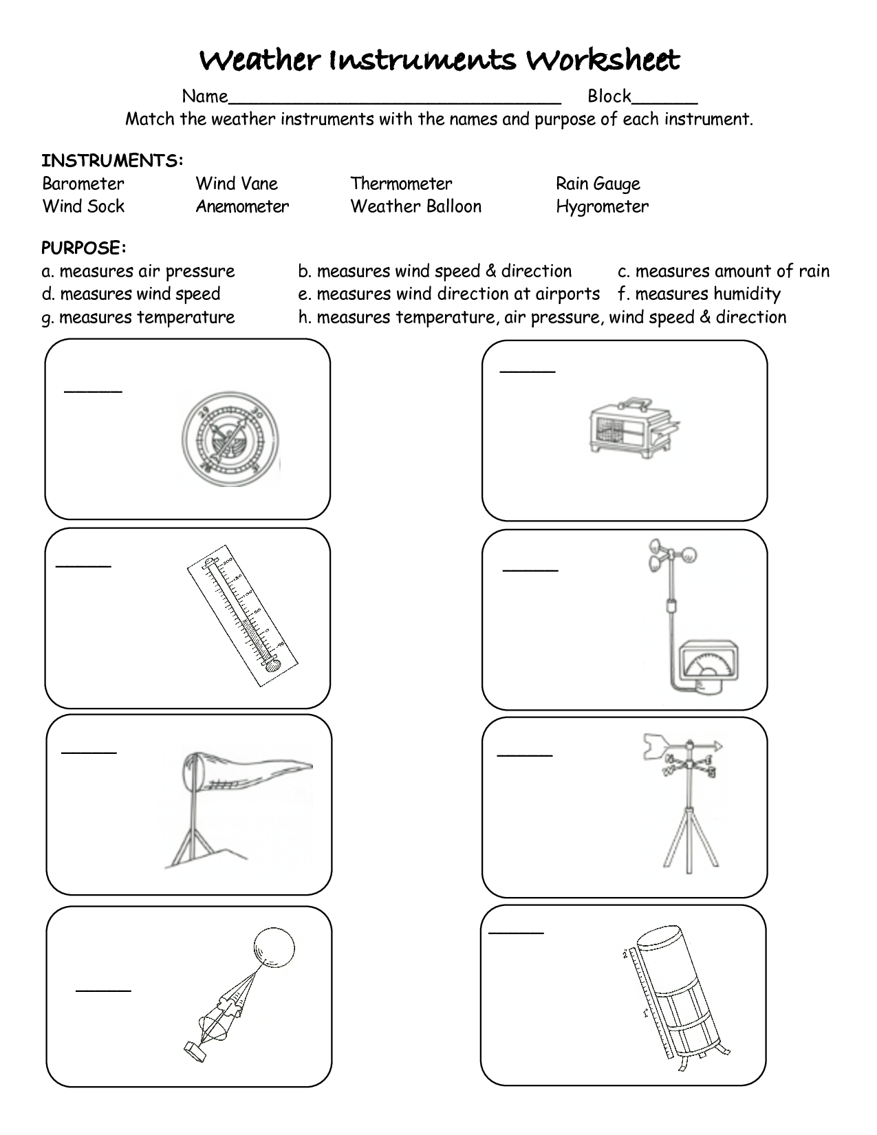 Weather Instruments Printable Worksheets