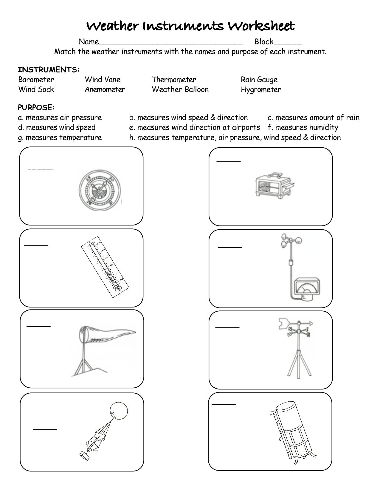 Worksheets weather instruments pdf also recipes rh pinterest