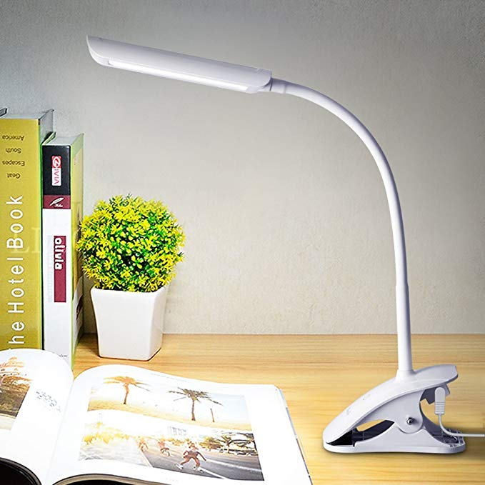 Kedsum 7w Dimmable Led Desk Lamp Flexible Gooseneck Clip On Light With 3 Level Dimmer Touch Sensitive Control Pan Desk Lamp Led Desk Lamp Dimmable Table Lamp