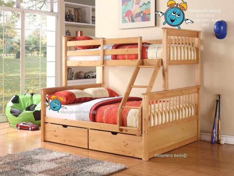 Supersonic Pine Wood Triple Bunk Bed In Oak With Drawers