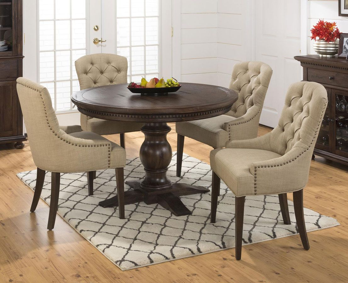 Geneva Hills Round To Oval Dining Set W Tufted Chairs Round Dining Table Sets Round Dining Room Round Dining