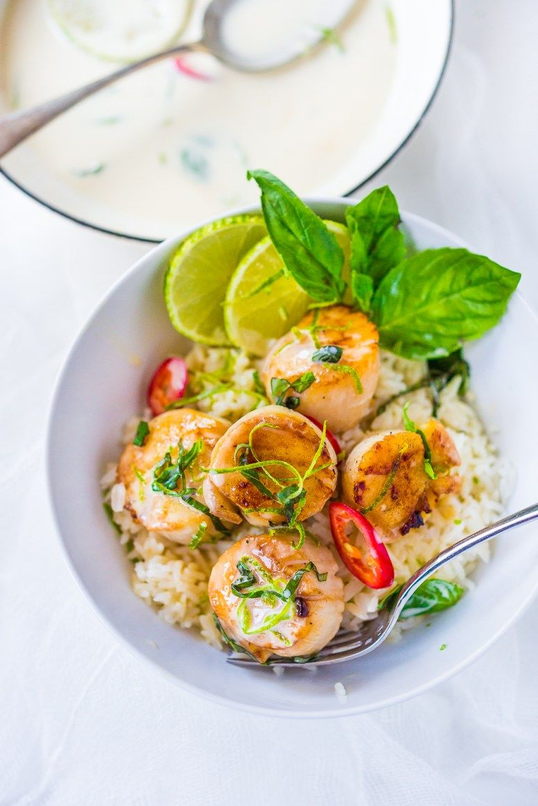Coconut lemongrass scallops with lime recipe seafood