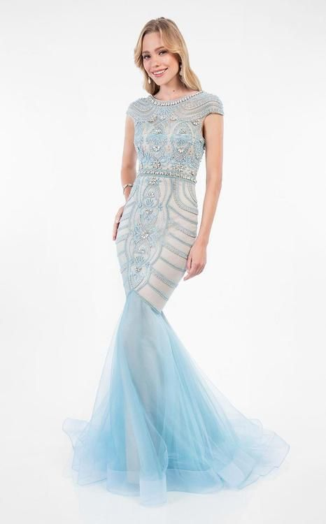 f54fbe7815 Terani Couture - Elegant cap-sleeve Beaded Mermaid Gown 1712P2635 ...